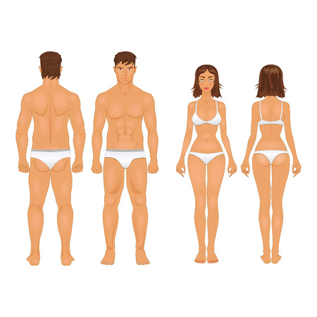 standing: simple stylized illustration of a healthy body type of man and woman in retro colors