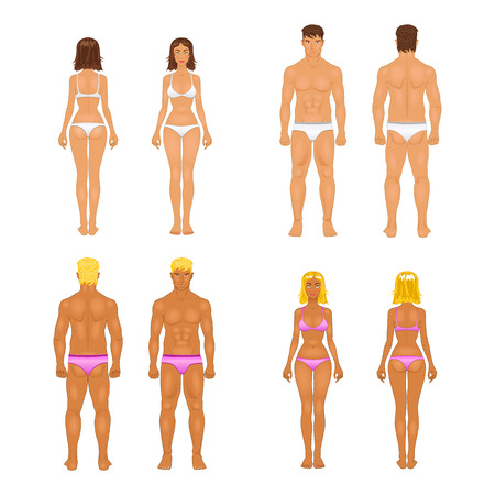 vector dolls, young woman and guy in underwear. Body templates Vector