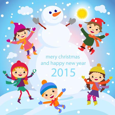 Cartoon concept winter background. Cute snowman in vector Vettoriali