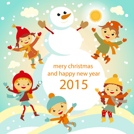The family of snowmen dresses up a fur-tree vector retro 2015 xmas Vector