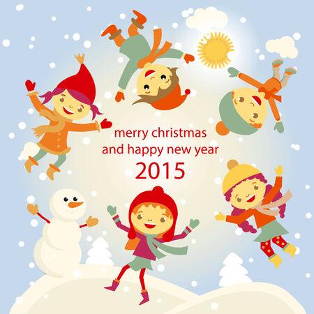 winter fun: Winterpret sneeuwpop kinderen vector 2015 retro Gelukkig