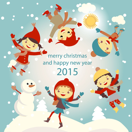 set of characters funny kids  in winter snow vector 2015 Vector