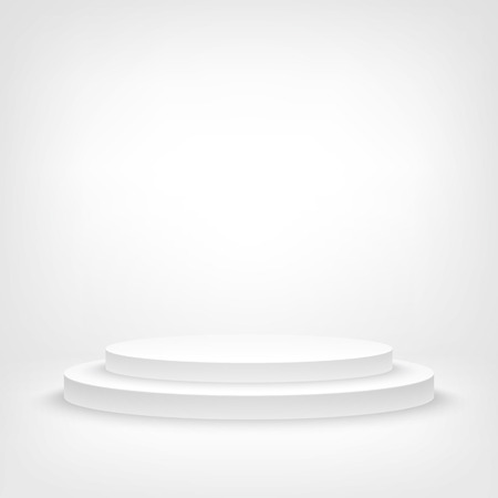 A 3d illustration of blank template layout of white empty musical, theater, concert or entertainment stage.  イラスト・ベクター素材