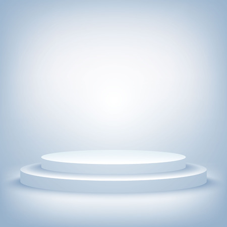 A 3d illustration of blank template layout of white empty musical, theater, concert or entertainment stage. Vectores