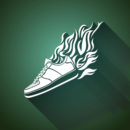 illustration with silhouette of running shoe icon on a white background Vector