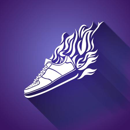 running shoe: illustrazione con silhouette di esecuzione icona scarpa su uno sfondo bianco