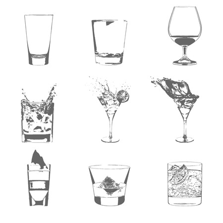 Cocktails set. Vector glasses collection. drinking cocktails whiskey glasses party menu Vector