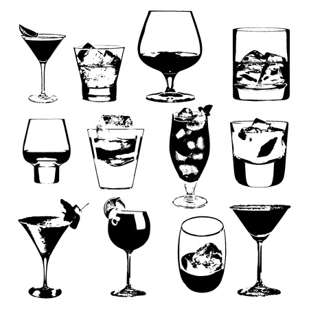 Cocktails set. Vector glasses collection. drinking cocktails whiskey glasses party menu