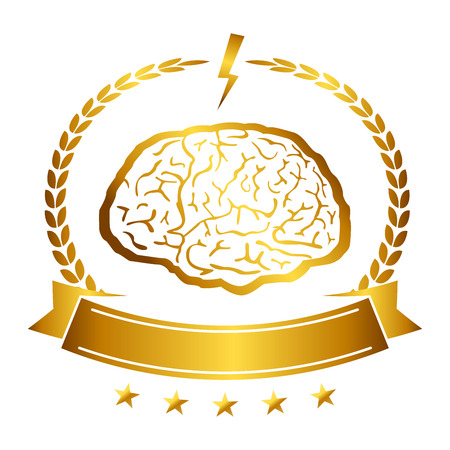 Vector illustration of brain designs & badges. These are iconic representations of creativity, ideas, inspiration, intelligence, thoughts, strategy, memory, innovation, education, & learning. Eps10. Vector