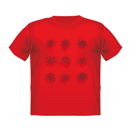 fiery: male t-shirt with fiery snowflake print background.