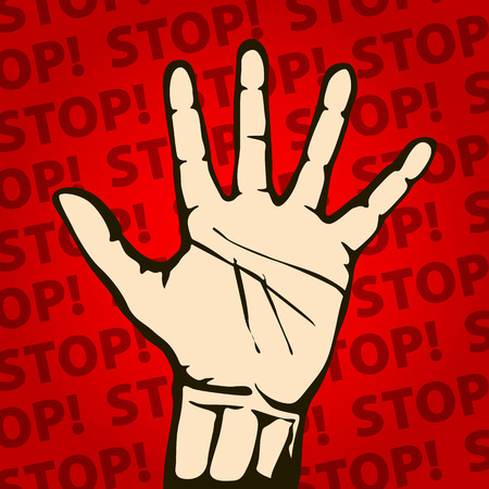 cyber war: Hand raised with stop sign painted - background Illustration
