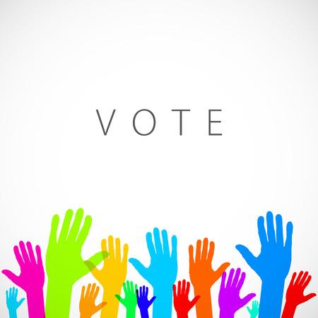 warm colorful up hands logo, vector illustration art vote