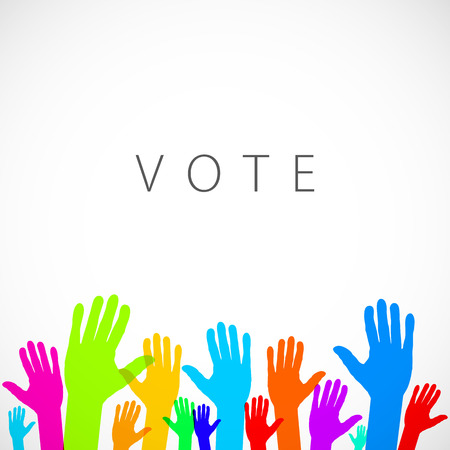 warm up: warm colorful up hands logo, vector illustration art vote