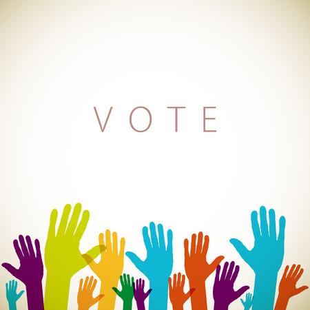 cálidas manos en alto coloridos, ilustración vectorial voto arte