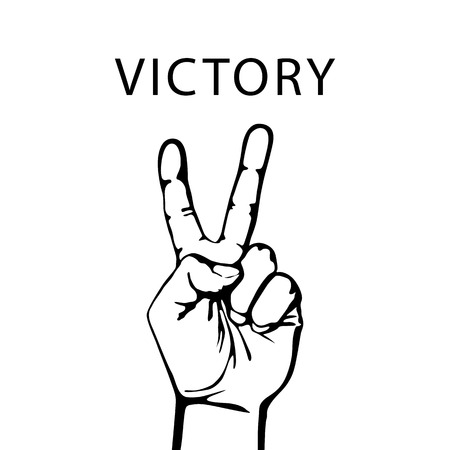 Vector illustration in retro style of a hand with victory sign Vettoriali