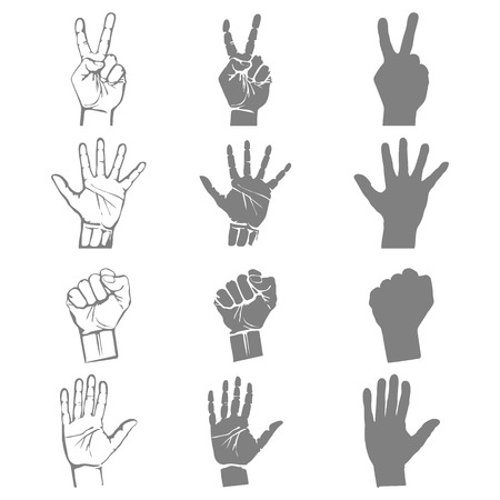 gesticulation: Open empty hands holding protect giving gestures icons set isolated vector illustration Illustration