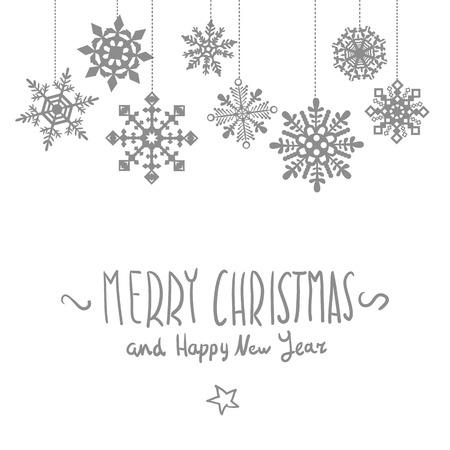 schneeflocke: Frohe Weihnachtskarte mit Schneeflocken, Vektor-Illustration Kunst