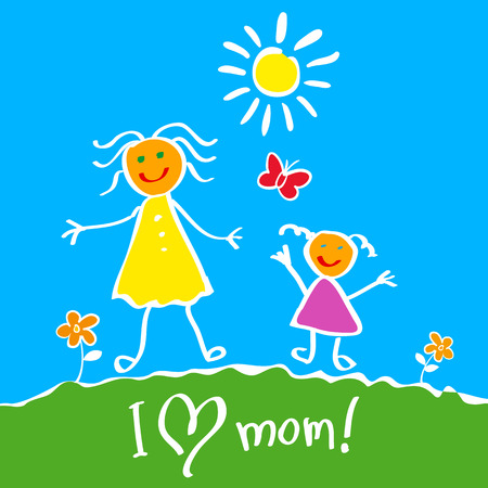 Kids Drawing. The Mother Vector