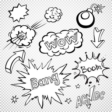 kapow: BLANK Comic speech bubbles set, comic wording sound effect set design for comic background, comic strip