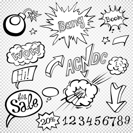 kaboom: Bomb explosion comic style templates. Vector illustration wow Illustration