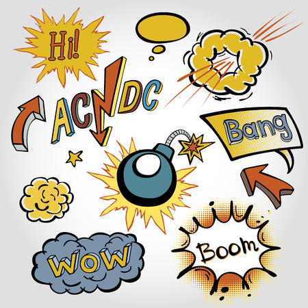 onomatopoeia: comic sound Effects collection cloud vector label wow set design bang art boom