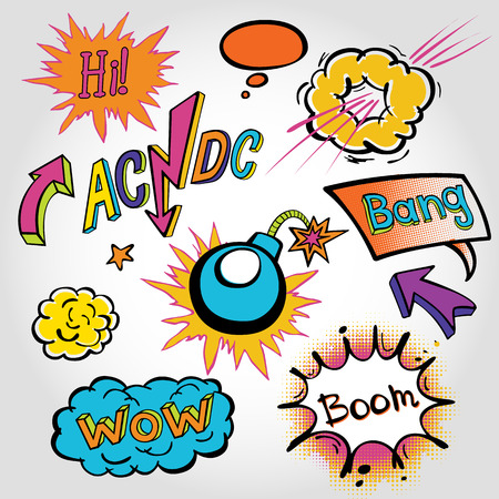 wow: comic sound Effects collection cloud vector label wow set design bang art boom