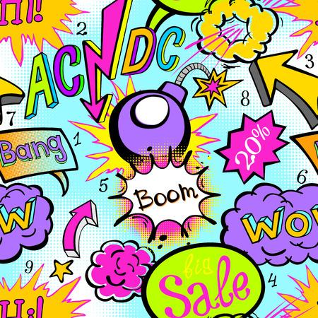 grafitis: Comic libro de patrones explosi�n ilustraci�n vectorial arte sin fisuras acdc Vectores