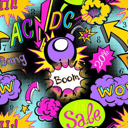 petard: Comic book explosion pattern vector illustration seamless art acdc