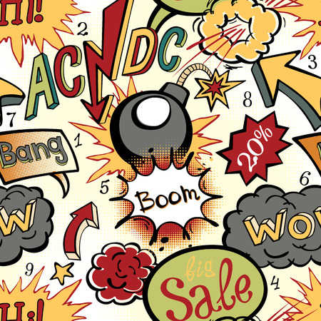 Comic book explosion pattern vector illustration seamless art acdc Vector