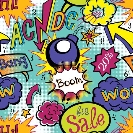clash: Comic book explosion pattern vector illustration seamless art acdc