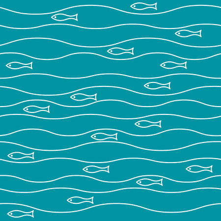 vector seamless abstract pattern, waves fish vintage retro art