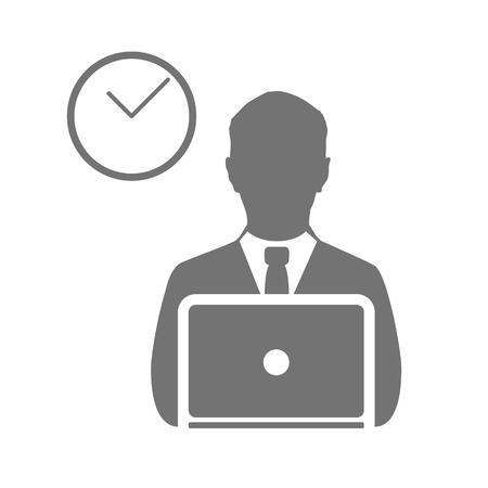 office manager: business man  vector icon symbol, office, communication art