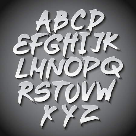 typo: Vector Alphabet Set art grey shadow font typo Illustration