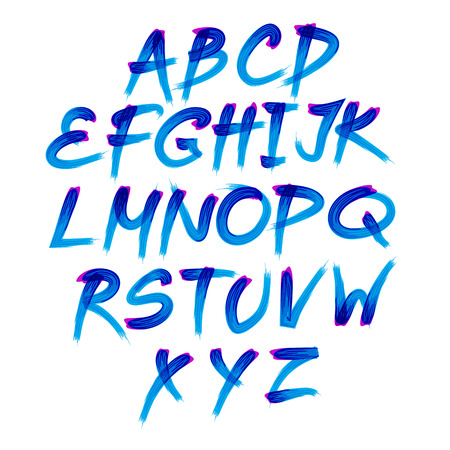 Handwritten blue watercolor alphabet with numbers and symbols. Vector Vettoriali