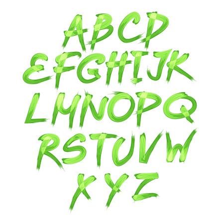 floral alphabet: Floral alphabet on green background, vector  format art