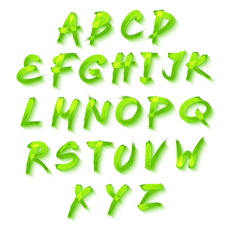 Floral alphabet on green background, vector  format art