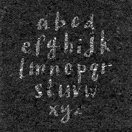 textured paper: Hand drawn font on textured paper with paint strokes on black background