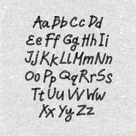Hand drawn and sketched classic font, vector sketch style alphabet.