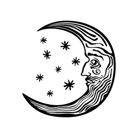 Decorative moon shape on the night sky folklore retro vintage art Illustration