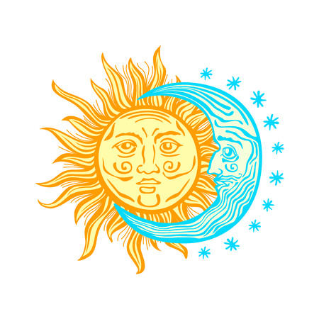 Sun, month and stars.Vector in vintage style folklore Vector