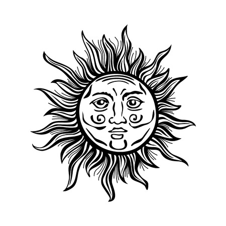 faced: Sun retro vintage vector folklore art classic decoration design drawing illustration