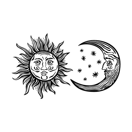 An etched-style cartoon illustration of a sun, moon, and star with human faces. Outlines are solid black with a transparent background for easy re-coloring. Vectores
