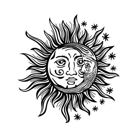 dessin noir et blanc: Une illustration de bande dessinée de style gravé d'un soleil, la lune et étoiles avec des visages humains. Contours sont solides noir avec un fond transparent pour faciliter le re-coloration.