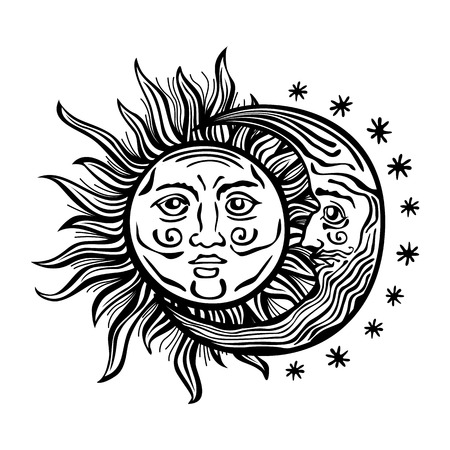An etched-style cartoon illustration of a sun, moon, and star with human faces. Outlines are solid black with a transparent background for easy re-coloring. Vector