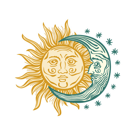 folklore: Sun, month and stars.Vector in vintage style folklore