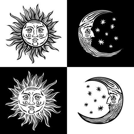 An etched-style cartoon illustration of a sun, moon, and star with human faces. Outlines are solid black with a transparent background for easy re-coloring. Vettoriali