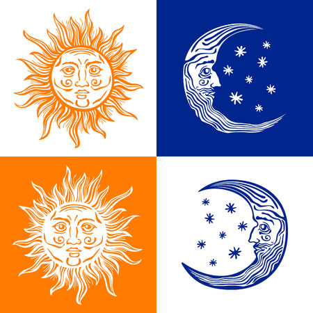 Sun, month and stars.Vector in vintage style folklore
