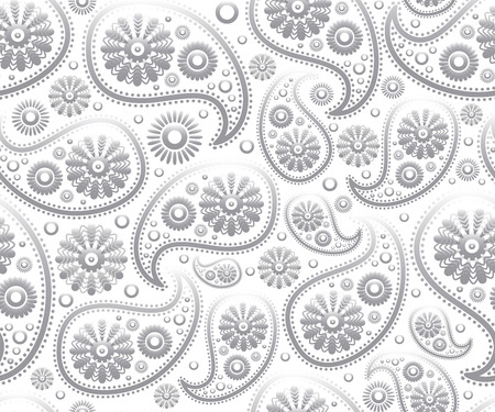 seamless paisley ornament black white vector art floral background 矢量图像