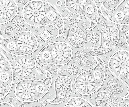 Nahtlose Paisley-Ornament Schwarz-Weiß-Vektor Blumenkunst ...