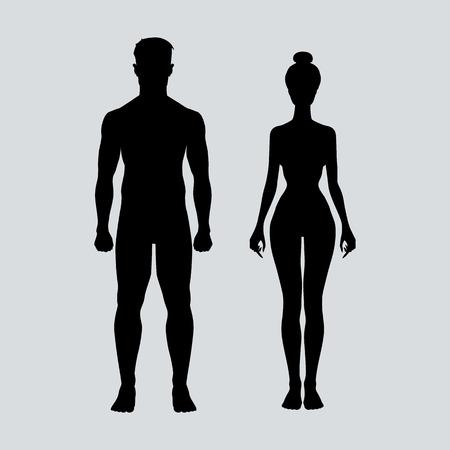 uomo nudo: il corpo dell'uomo e della donna icona figura vettore di sport arte Vettoriali